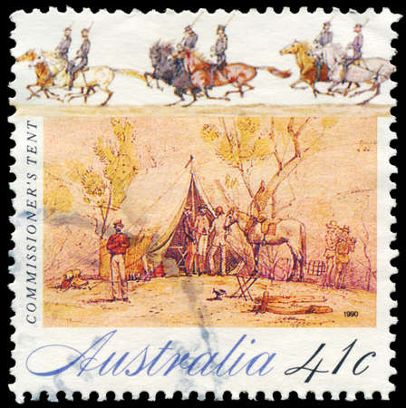 gold rush: AUSTRALIA - CIRCA 1990: A Stamp printed in AUSTRALIA shows Commissioner's tent, Gold Rush series, circa 1990 Editorial