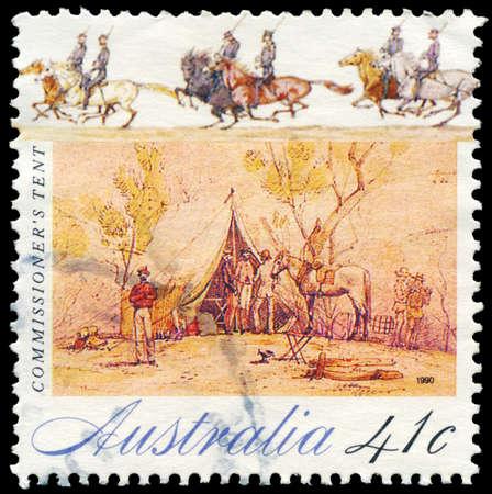 gold rush: AUSTRALIA - CIRCA 1990: A Stamp printed in AUSTRALIA shows Commissioner's tent, Gold Rush series, circa 1990