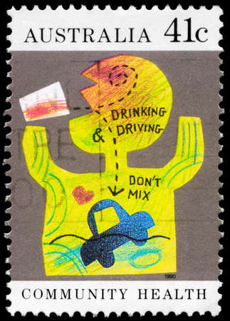 detriment: AUSTRALIA - CIRCA 1990: A Stamp printed in AUSTRALIA shows the Caricature Drinking and Driving do not mix, Community health series, circa 1990