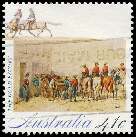 AUSTRALIA - CIRCA 1990: A Stamp printed in AUSTRALIA shows the Gold Escort, Gold Rush series, circa 1990 Stock Photo - 16376053