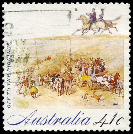 gold rush: AUSTRALIA - CIRCA 1990: A Stamp printed in AUSTRALIA shows Off to the Digging, Gold Rush series, circa 1990