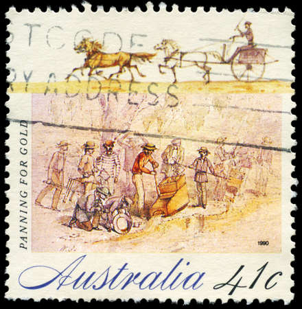 placer: AUSTRALIA - CIRCA 1990: A Stamp printed in AUSTRALIA shows the Panning for Gold, Gold Rush series, circa 1990