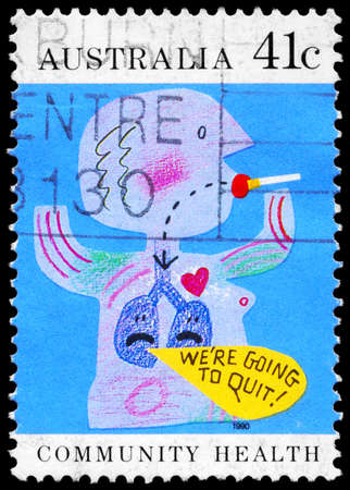 detriment: AUSTRALIA - CIRCA 1990: A Stamp printed in AUSTRALIA shows the Caricature of Quit smoking, Community health series, circa 1990