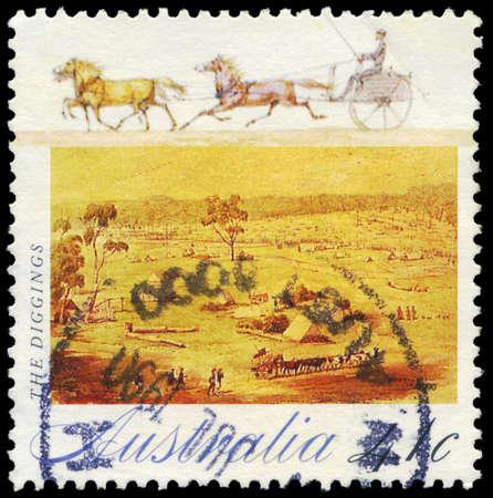 gold rush: AUSTRALIA - CIRCA 1990: A Stamp printed in AUSTRALIA shows the Digging, Gold Rush series, circa 1990