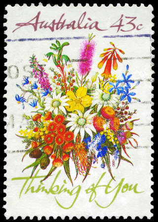 you are special: AUSTRALIA - CIRCA 1990: A Stamp printed in AUSTRALIA shows the Bunch of flowers with the description Thinking of You, Special Occasions, circa 1990