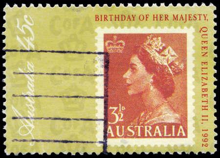 AUSTRALIA - CIRCA 1992: A Stamp printed in AUSTRALIA shows the portrait of a Queen Elizabeth II, 66th Birthday, circa 1992 Stock Photo - 16376007