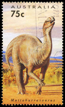 AUSTRALIA - CIRCA 1993: A Stamp printed in AUSTRALIA shows the Muttaburrasaurus, Dinosaurs series, circa 1993