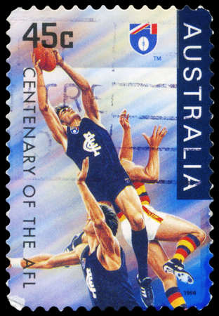AUSTRALIA - CIRCA 1996: A Stamp printed in AUSTRALIA shows the Carlton Blues, Centenary of the AFL series, circa 1996 Stock Photo - 16375977