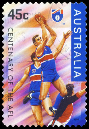 afl: AUSTRALIA - CIRCA 1996: A Stamp printed in AUSTRALIA shows the Footscray Bulldogs, Centenary of the AFL series, circa 1996