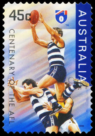 AUSTRALIA - CIRCA 1996: A Stamp printed in AUSTRALIA shows the Geelong Cats, Centenary of the AFL series, circa 1996 Stock Photo - 16375992