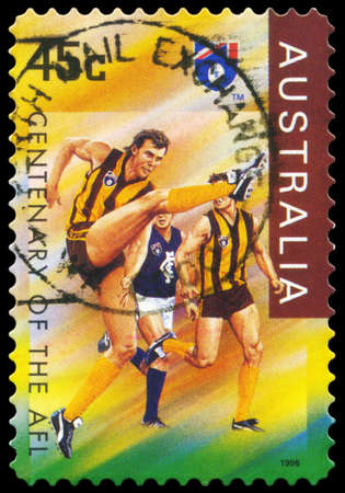 AUSTRALIA - CIRCA 1996: A Stamp printed in AUSTRALIA shows the Hawthorn Hawks, Centenary of the AFL series, circa 1996 Stock Photo - 16375995