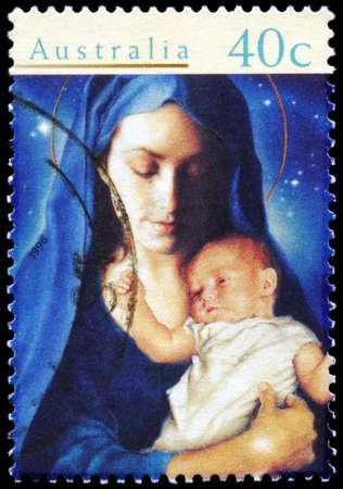 AUSTRALIA - CIRCA 1996: A Stamp printed in AUSTRALIA shows the Madonna and Child, Christmas series, circa 1996 Stock Photo - 16375925