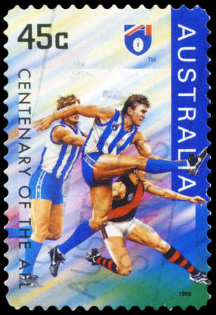 afl: AUSTRALIA - CIRCA 1996: A Stamp printed in AUSTRALIA shows the North Melbourne Kangaroos, Centenary of the AFL series, circa 1996