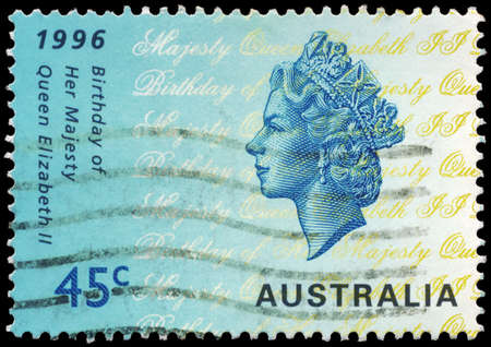 AUSTRALIA - CIRCA 1996: A Stamp printed in AUSTRALIA shows the portrait of a Queen Elizabeth II, 70th Birthday, circa 1996