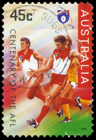 AUSTRALIA - CIRCA 1996: A Stamp printed in AUSTRALIA shows the Sydney Swans, Centenary of the AFL series, circa 1996 Stock Photo - 16375920