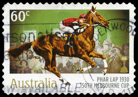 horse race: AUSTRALIA - CIRCA 2010: A Stamp printed in AUSTRALIA shows the Phar Lap, 1930 Winner, 150th Melbourne Cup issue, circa 2010 Editorial