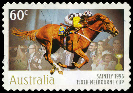 onlooker: AUSTRALIA - CIRCA 2010: A Stamp printed in AUSTRALIA shows the Saintly, 1896 Winner, 150th Melbourne Cup issue, circa 2010