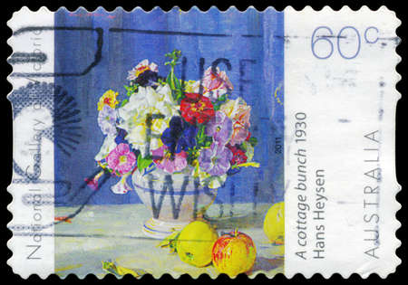 ngv: AUSTRALIA - CIRCA 2011: A Stamp printed in AUSTRALIA shows a Cottage Bunch (1930), by Hans Heysen (1877-1968), NGV Flowers series, circa 2011 Editorial