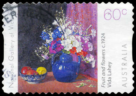ngv: AUSTRALIA - CIRCA 2011: A Stamp printed in AUSTRALIA shows the Fruit and Flowers (1924), by Vida Lahey (1882-1968), NGV Flowers series, circa 2011 Editorial