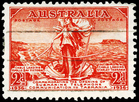 AUSTRALIA - CIRCA 1936: A Stamp printed in AUSTRALIA shows the Amphitrite, joining Cables between Australia and Tasmania, circa 1936 Stock Photo - 16652294