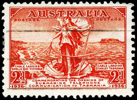 AUSTRALIA - CIRCA 1936: A Stamp printed in AUSTRALIA shows the Amphitrite, joining Cables between Australia and Tasmania, circa 1936 Stock Photo - 16652294