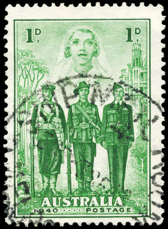 AUSTRALIA - CIRCA 1940: A Stamp printed in AUSTRALIA shows the Nurse, Sailor, Soldier and Aviator, Australia's participation in WWII, series, circa 1940 Stock Photo - 16652258