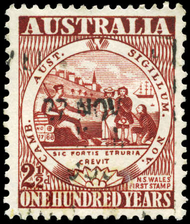 AUSTRALIA - CIRCA 1950: A Stamp printed in AUSTRALIA shows the New South Wales, Century of Australian adhesive postage stamps issue, circa 1950 Stock Photo - 16652210