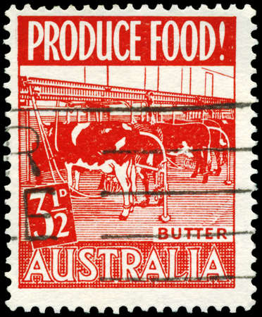AUSTRALIA - CIRCA 1953: A Stamp printed in AUSTRALIA shows the Modern Dairy, issued to encourage food production, circa 1953 Stock Photo - 16652208