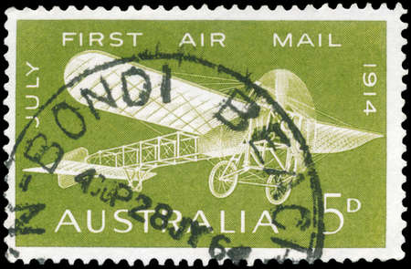 monoplane: AUSTRALIA - CIRCA 1964: A Stamp printed in AUSTRALIA shows the Bleriot 60 Plane, 1914, 50th anniversary of the first airmail flight, circa 1964