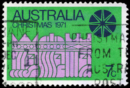 magus: AUSTRALIA - CIRCA 1971: A Stamp printed in AUSTRALIA shows the Three Kings and Star, Christmas issue, circa 1971