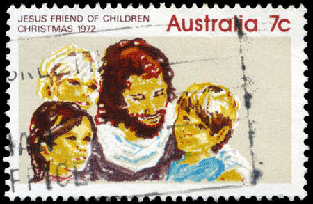 AUSTRALIA - CIRCA 1972: A Stamp printed in AUSTRALIA shows the Jesus and Children, Christmas issue, circa 1972 Stock Photo - 16652224