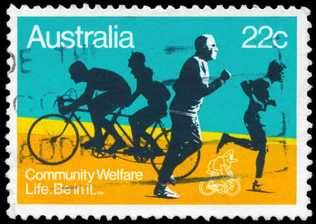 AUSTRALIA - CIRCA 1980: A Stamp printed in AUSTRALIA shows the Joggers and Bicyclists, with the inscription