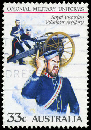 AUSTRALIA - CIRCA 1985: A Stamp printed in AUSTRALIA shows the Royal Victorian Volunteer Artillery, Colonial military uniforms, series, circa 1985 Stock Photo - 16652247