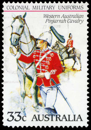 AUSTRALIA - CIRCA 1985: A Stamp printed in AUSTRALIA shows the Western Australian Pinjarrah Cavalry, Colonial military uniforms, series, circa 1985 Stock Photo - 16652230