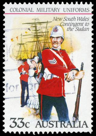AUSTRALIA - CIRCA 1985: A Stamp printed in AUSTRALIA shows the New South Wales Contingent to the Sudan, Colonial military uniforms, series, circa 1985 Stock Photo - 16652237