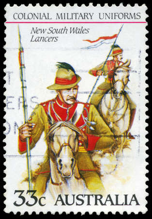 AUSTRALIA - CIRCA 1985: A Stamp printed in AUSTRALIA shows the New South Wales Lancers, Colonial military uniforms, series, circa 1985 Stock Photo - 16652261