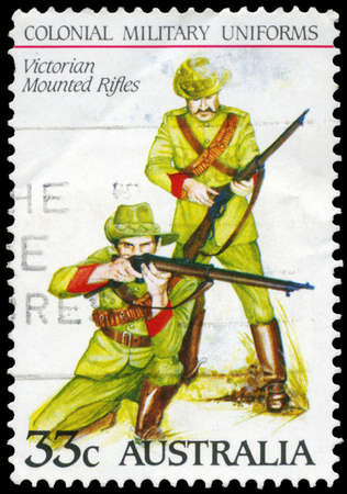 AUSTRALIA - CIRCA 1985: A Stamp printed in AUSTRALIA shows the Victorian Mounted Rifles, Colonial military uniforms, series, circa 1985 Stock Photo - 16652244