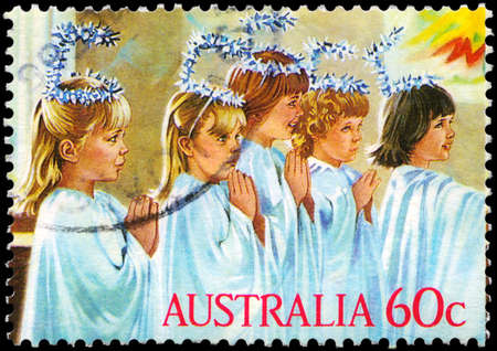 AUSTRALIA - CIRCA 1986: A Stamp printed in AUSTRALIA shows the Kindergarten Nativity play, Angels, Christmas series, circa 1986