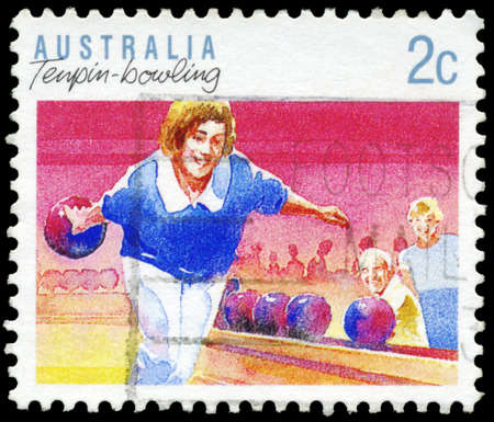 AUSTRALIA - CIRCA 1989: A Stamp printed in AUSTRALIA shows the Tenpin Bowling, Sport series, circa 1989 Stock Photo - 16652234