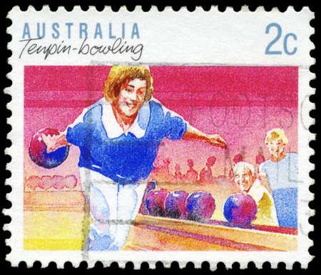 AUSTRALIA - CIRCA 1989: A Stamp printed in AUSTRALIA shows the Tenpin Bowling, Sport series, circa 1989 Stock Photo - 16652234