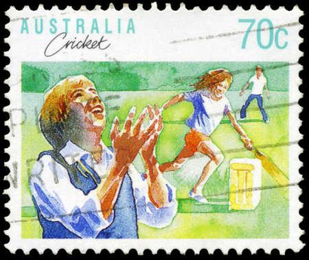AUSTRALIA - CIRCA 1989: A Stamp printed in AUSTRALIA shows the Cricket, Sport series, circa 1989 Stock Photo - 16652212