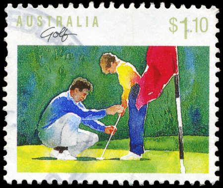 AUSTRALIA - CIRCA 1989: A Stamp printed in AUSTRALIA shows the Golf, Sport series, circa 1989