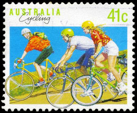 AUSTRALIA - CIRCA 1990: A Stamp printed in AUSTRALIA shows the Cycling, Sport series, circa 1990