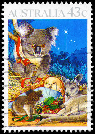 オーストラリア - 1990: A 切手がオーストラリアで印刷されたキリスト降誕、1990 年ごろのクリスマス シリーズは示しています 報道画像