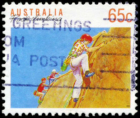 AUSTRALIA - CIRCA 1990: A Stamp printed in AUSTRALIA shows the Rock climbing, Sport series, circa 1990