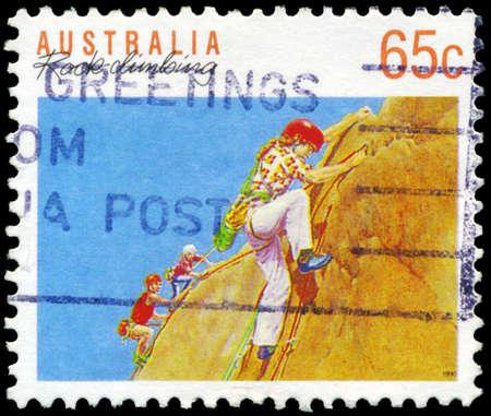 alpinism: AUSTRALIA - CIRCA 1990: A Stamp printed in AUSTRALIA shows the Rock climbing, Sport series, circa 1990