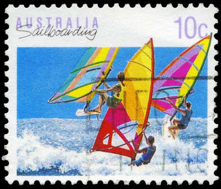 AUSTRALIA - CIRCA 1990: A Stamp printed in AUSTRALIA shows the Sailboarding, Sport series, circa 1990 Stock Photo - 16652225