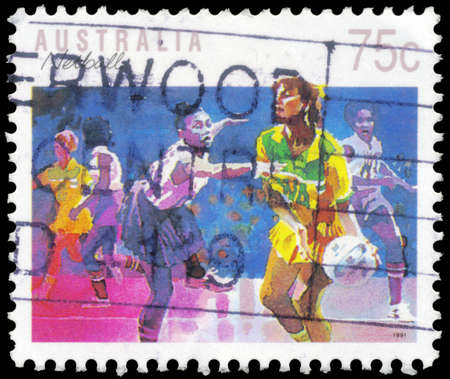 AUSTRALIA - CIRCA 1989: A Stamp printed in AUSTRALIA shows the Netball, Sport series, circa 1989 Stock Photo - 16652209
