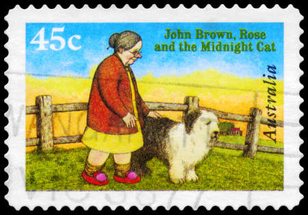 AUSTRALIA - CIRCA 1996: A Stamp printed in AUSTRALIA shows the Cover from Book John Brown, Rose and the Midnight Cat, Book of the Year series, circa 1996