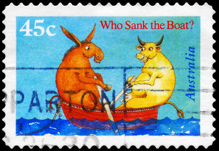 AUSTRALIA - CIRCA 1996: A Stamp printed in AUSTRALIA shows the Cover from Book Who Sank the Boat, by Pamela Allen, Book of the Year series, circa 1996